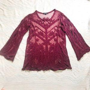 Long sleeve maroon lace blouse